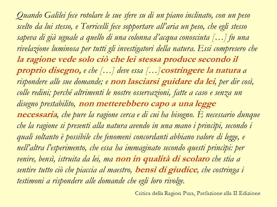 Quando Galilei fece rotolare le sue sfere su di un piano inclinato, con un peso scelto da lui stesso, e Torricelli fece sopportare all'aria un peso, che egli stesso sapeva di già uguale a quello di una colonna d'acqua conosciuta […] fu una rivelazione luminosa per tutti gli investigatori della natura. Essi compresero che la ragione vede solo ciò che lei stessa produce secondo il proprio disegno, e che […] deve essa […]costringere la natura a rispondere alle sue domande; e non lasciarsi guidare da lei, per dir così, colle redini; perché altrimenti le nostre osservazioni, fatte a caso e senza un disegno prestabilito, non metterebbero capo a una legge necessaria, che pure la ragione cerca e di cui ha bisogno. È necessario dunque che la ragione si presenti alla natura avendo in una mano i princìpi, secondo i quali soltanto è possibile che fenomeni concordanti abbiano valore di legge, e nell'altra l'esperimento, che essa ha immaginato secondo questi princìpi: per venire, bensì, istruita da lei, ma non in qualità di scolaro che stia a sentire tutto ciò che piaccia al maestro, bensì di giudice, che costringa i testimoni a rispondere alle domande che egli loro rivolge.